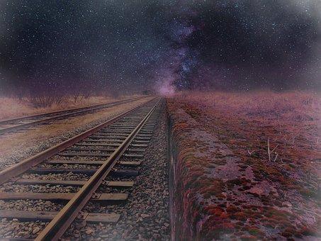 Cosmos, Road, Railway, Fog, Fantasy, Planet, Fabulous