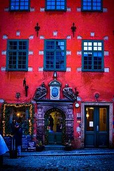 Blank, Red, Window, Door, Doors, Stockholm, Gamla, Stan