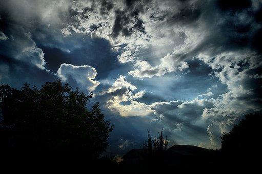 Clouds, Sunset, The Gathering Storm, Sky, Storm, Lights