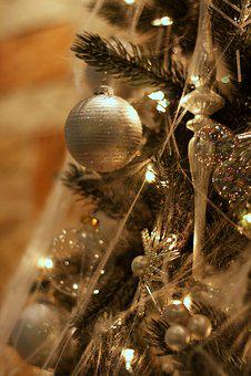 Christmas, Tree, Ornament, Silver, Christmas Tree