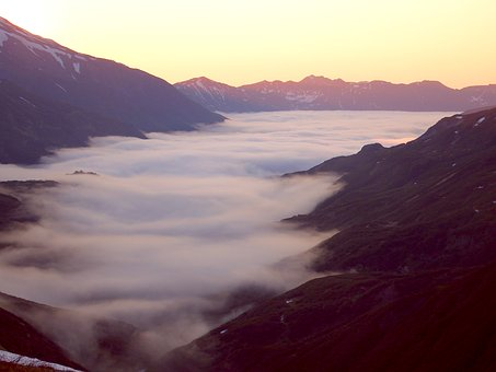 Valley, Mountains, The Foot Of The Volcano, Fog, Clouds
