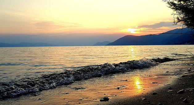Beach, Sea, Island, Sunset, Greece, Evia