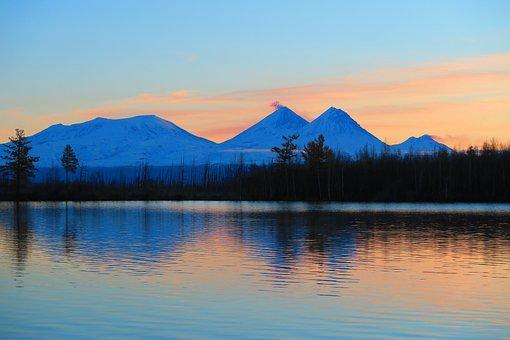 Sunrise, Early Morning, Lake, Volcanoes, Reflection