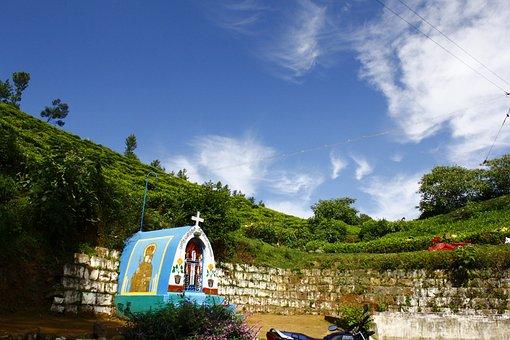 India, Temple, Tribal, Road, Turning, Sky, Tea Garden
