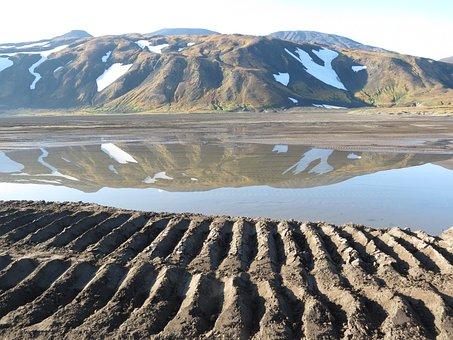 Volcano, Lake, Water, Reflection, Road, Track, Tracks