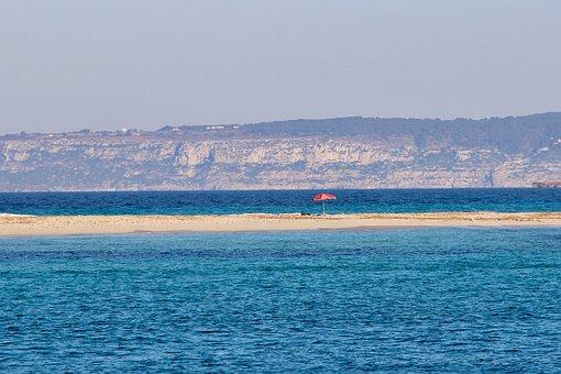 Sea, Beach, Parasol, Sand Beach, Turquoise, Empty Beach