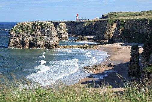 Marsden, Beach, South Shields, Coast, Coastline, Bay