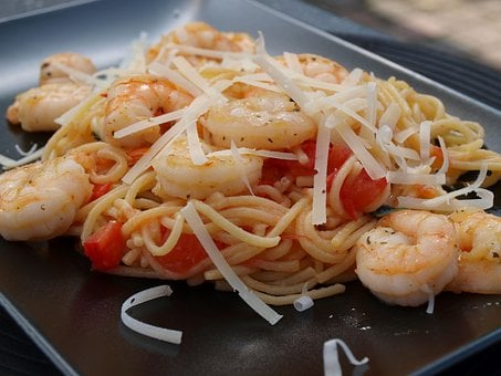 Pasta, Noodles, Crabs, Shrimp, Dine, Eat, Food, Italian