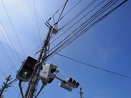 Sky, Electric Cable, Pole, Japan, Signal