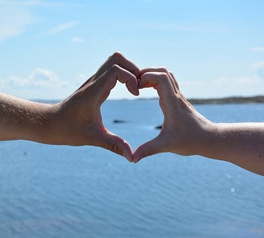 Love, Heart, Hands, Form, He And She, Together, Sea