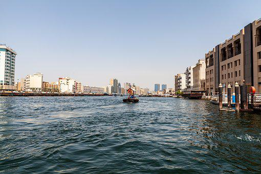 Dubai, Creek, River, Taxi, Boot, Tourism, Holiday, City