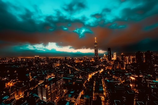 Taipei, Taiwan, City, Urban, Sunset, Dusk, Skyscrapers