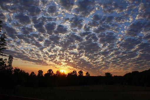 Sunset, Clouds, Sky, Sun, West, Blue, Sky Clouds