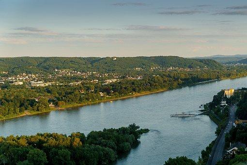 Rhine, Bad Honnef Germany, Abendstimmung, Viewpoint