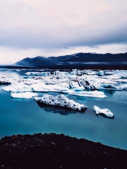 Iceland, Ice, Mountains, Sky, Clouds, Tourism, Bay