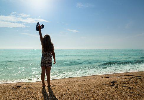 Girl, Silhouette, Beach, Flipflops, Happy, Sand, People