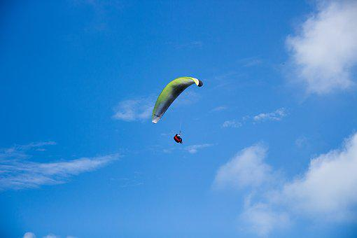 Parachute, Fly, Skydiving, Blue, Parachuting