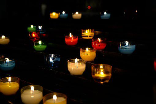 Candles, Lit, Church, Flame, Religion, Candlelight