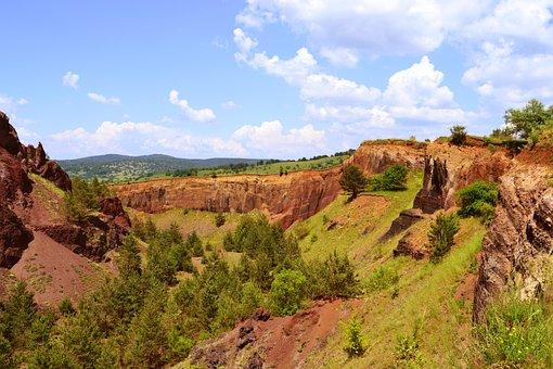 Crater, Racos, Extinct Volcano, Red