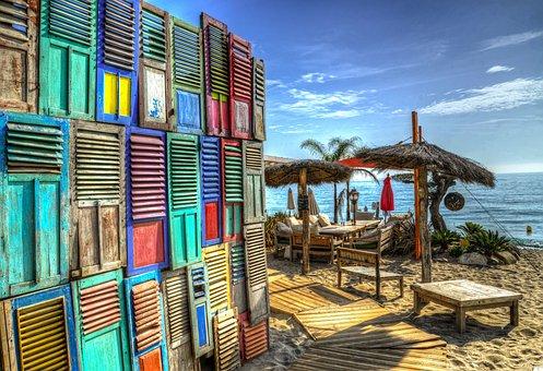 Beach, Lounge, Restaurant, Hdr, Summer, Travel