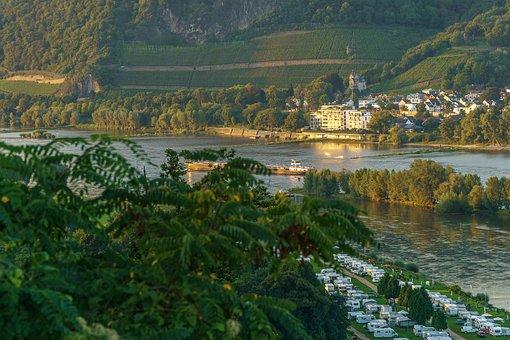 Rhine, Evening Sun, Bad Honnef Germany, Golden, River