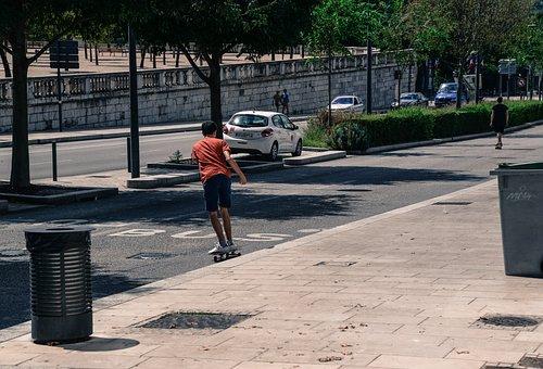 Skateboarding, Street, Downhill, Boy, Man, Person