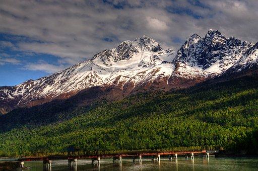 Alaska, Snow, Mountains, Green, Wilderness, Landscape