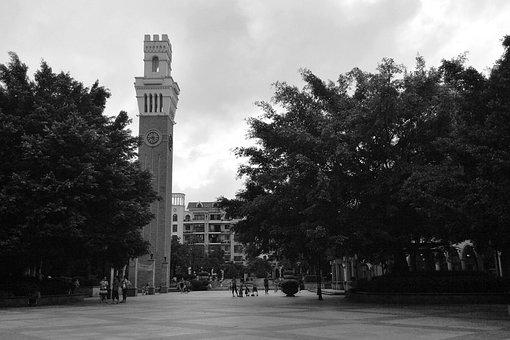 The Bell Tower, Square, Black And White