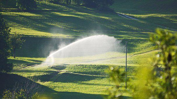 Irrigation, Meadow, Slope, Mountains, Jetstrahl, Water