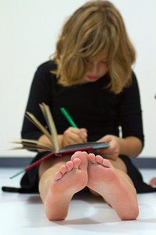 Girl, Young, School, Tasks, Portrait, Barefoot, Sit