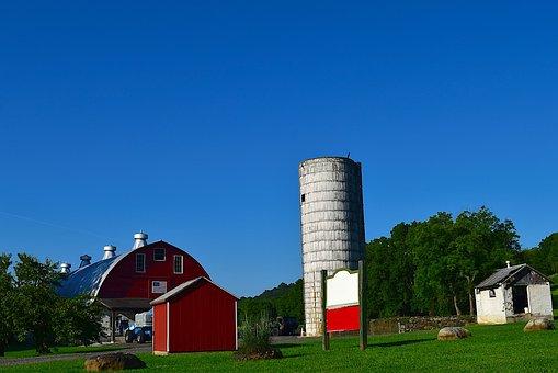Barn, Silo, Summer, Farm, Rural, Agriculture, Red
