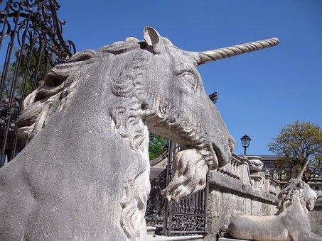 Unicorn, Salzburg, Austria, Statue, Horse, Gray Horse