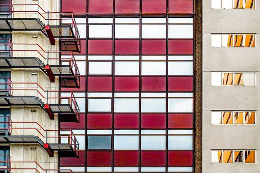 Building, Facade, Architecture, Glass, Red, Burgundy