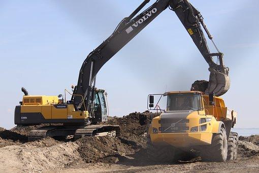 Digging, Crane, Truck, Work, Construction, Dirt
