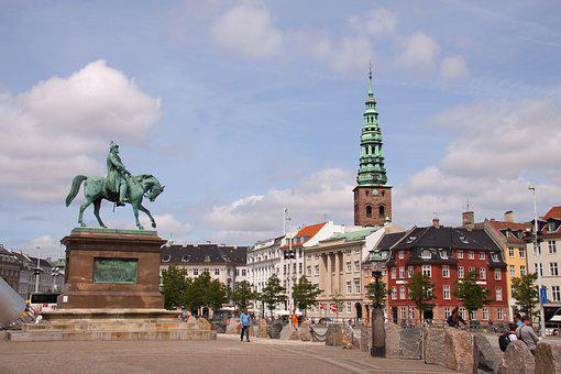 Christiansborg, Square, Statue, King, Tower, Buildings