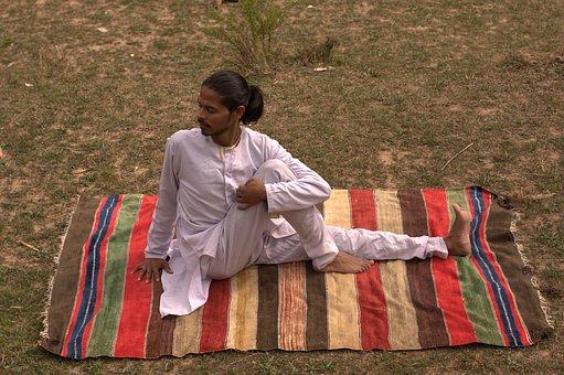 Spine Twist Pose, Yoga, Yogi, Indian, Indian Yogi, Man