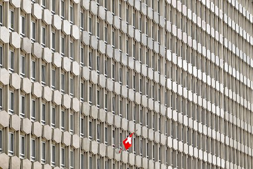 Building, Modern, Concrete, Red Flag, Office