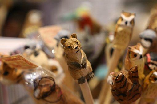 Bear, Owl, Animals, Pencils, Wooden, Wood, Organic