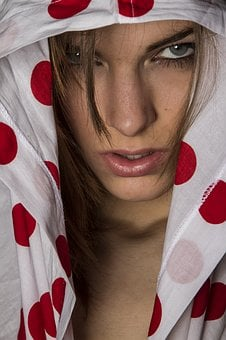 Model, Overview, Fabric, Dress, Red, Spotted