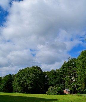 Landscape, Field, Sky, House, Clouds, Sunlight, Green