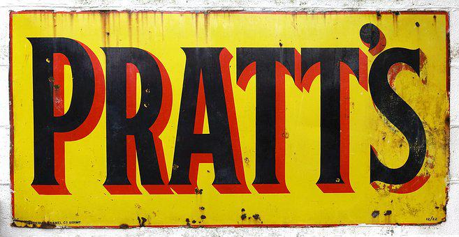 Pratts, Sign, Oil, Petrol, Petroleum, Tin, Metal