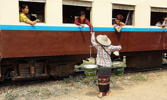 Train, Station, Food, Selling, Myanmar, Burma