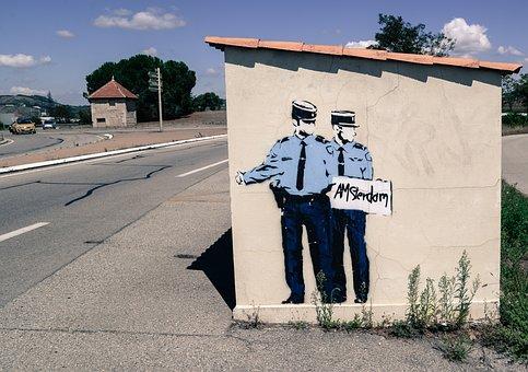 Hitchhiking, Cops, Mural, Paint, Art, Street, Uniform