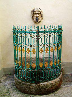 Wall Fountain, Wrought Iron Decorative Fence, Ancient