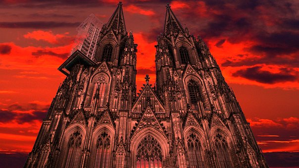 Cologne, Dom, Red, Church, Sky, Cologne Cathedral
