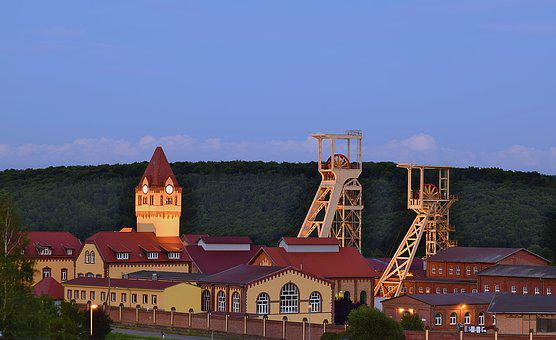 Blue Hour, Mine, Pit, Historic Building, Twilight