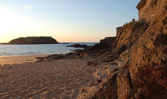 France, Saint Malo, Beach, Home, Sea, Brittany, Coast