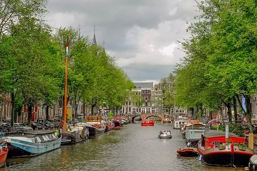 Canal, Barge, Houseboat, Waterway, Amsterdam