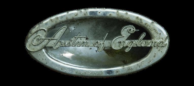 Emblem, Austin Of England, Austin, England, Old, Chrome