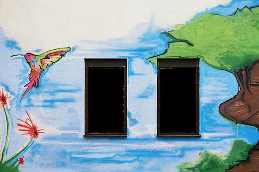 Facade, Wall, Window, Painted Wall, Wall Painting